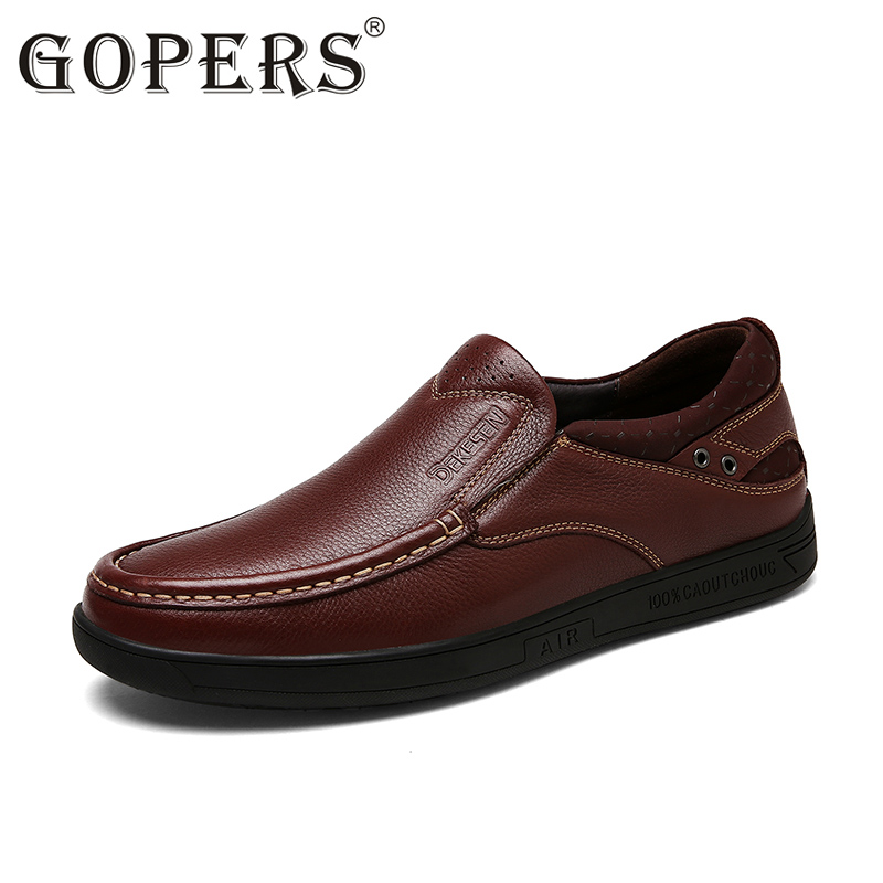 GOPERS 2017 Flats New Arrival Authentic Brand Casual Men Genuine Leather Loafers Shoes Plus size 37-47 Handmade Moccasins Shoes new style comfortable casual shoes men genuine leather shoes non slip flats handmade oxfords soft loafers luxury brand moccasins