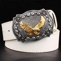Hombres cinturón de cuero hebilla de Metal retro tótem del Águila Patrón de estilo occidental cinturones hombres Toro Vaquero cinturón regalo de las mujeres