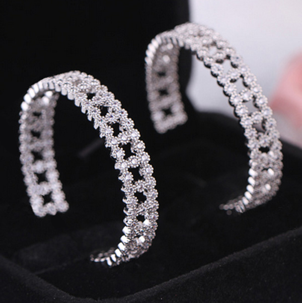 Circular Orbit Large And Wide Area Micro Pave Shiny Cz Diamond Hoop Earrings Sliver Plated Luxury Women S Accessories In From Jewelry