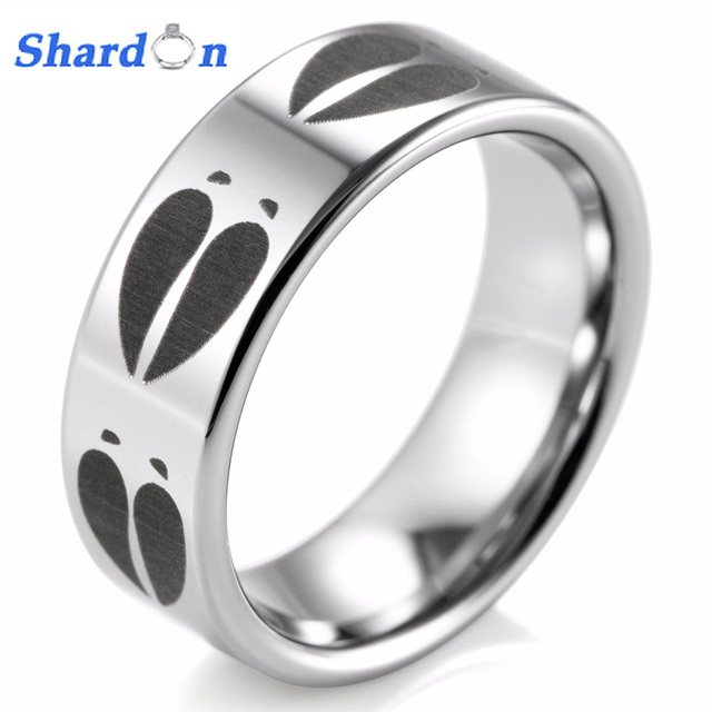 Shardon 8mm Animal Deer Track Print Ring Engraved Flat Tungsten Outdoor Wedding Band And