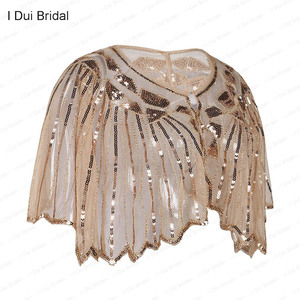 Image 2 - Womens 1920s Shawl Beaded Sequin Deco Wedding Cape Evening Wrap Flapper Cover Up Cocktail Dress Scarf Special Event Cape