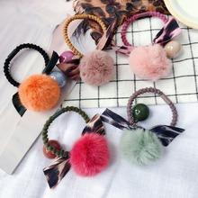 Korea Cute  Woolen Two-color Rabbit Fur Ball Elastic Hair Bands Rubber Band Accessories For Girls Ties Gum for