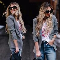 2018 New Style Women Glen Plaid Blazers Fashion Brand Jackets Ladies Elegant Grey Outwear