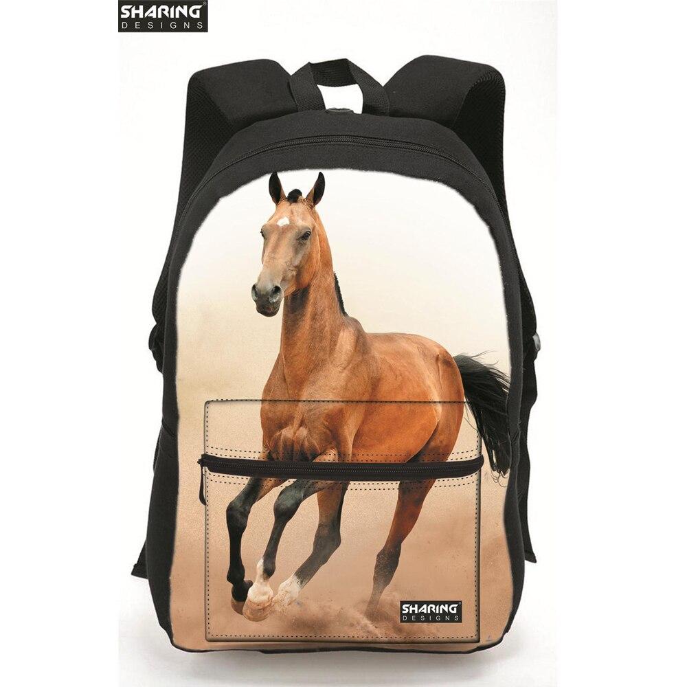 Cute 3D Animal Children font b backpack b font Horse Printing Laptop Shoulder Bag font b