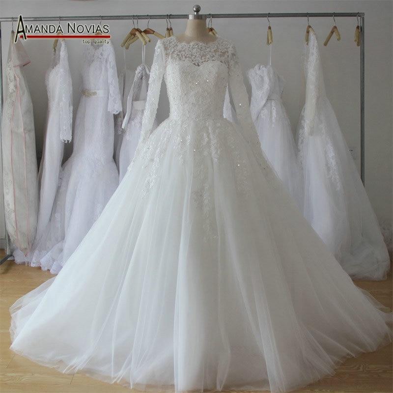 Beautiful New Model Lace Appliques Puffy Skirt Long Sleeve Wedding Dress 2016 NS1148