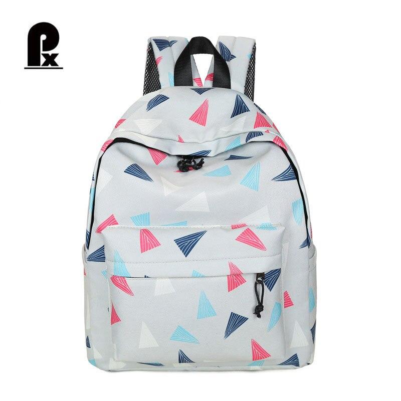 Women Backpack Geometry Bags Casual Student Female Backpacks Printing Canvas Leisure Korean Ladies School Bags for