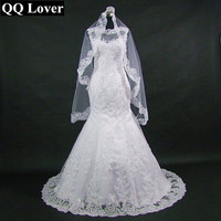 QQ Lover 2018 New African Mermaid Lace Wedding Dress With Veil Gift Custom made Plus Size Free Shipping Cheap Vestido De Noiva