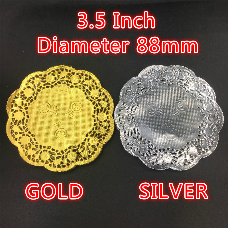 """50pcs/pack Creative Craft 3.5""""Inch Round Gold Silver Paper Lace Doilies Cake Placemat Party Wedding Gift Decoration"""