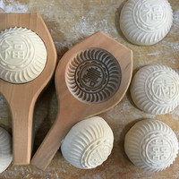 Chinese steamed bean blessing cake steamed buns pattern moon rice cake mold handmade DIY craft pasta baking wooden mold pie