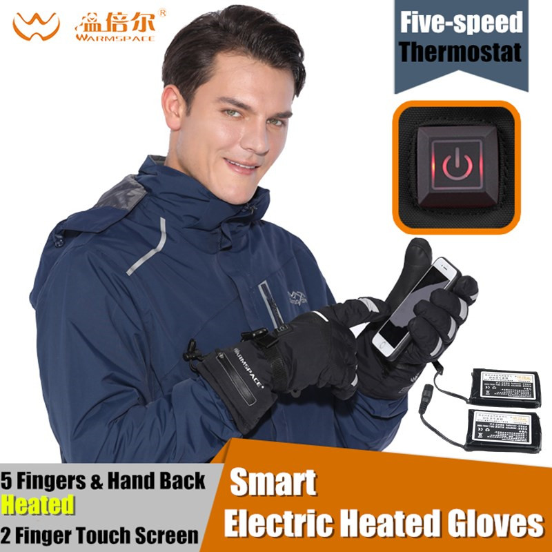 3600 mah Intelligente Elettrico Riscaldato Guanti, inverno Impermeabile 5 Finger & Mano di Nuovo Batteria Al Litio Riscaldamento Autonomo di Tocco Dello Schermo di Guanti Da Sci