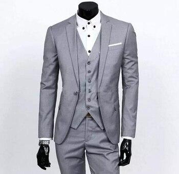 Custom Made One Button Light Grey Groom Tuxedos Notch Lapel Best Man Groomsmen Mens Wedding Suits (Jacket+Pants+Vest+Tie) G3669