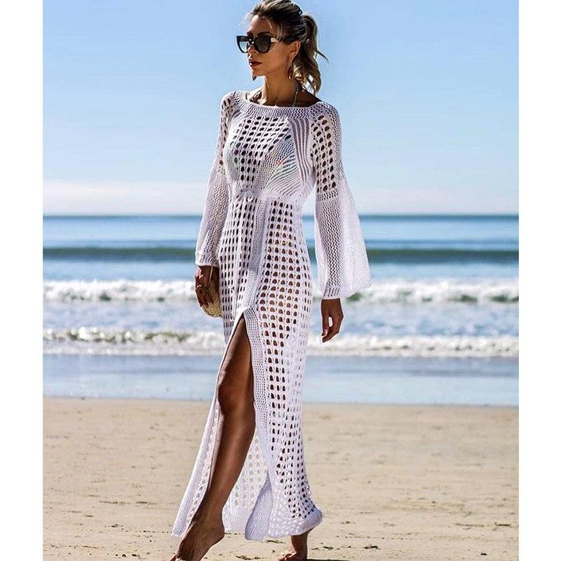 2019 Del Nuovo Crochet Delle Donne Vestito Lavorato A Maglia Tunica Lunga Femminile Di Alta Qualità Parei Sexy Delle Donne Veste Spiaggia Abito Bianco Nero Una Grande Varietà Di Merci