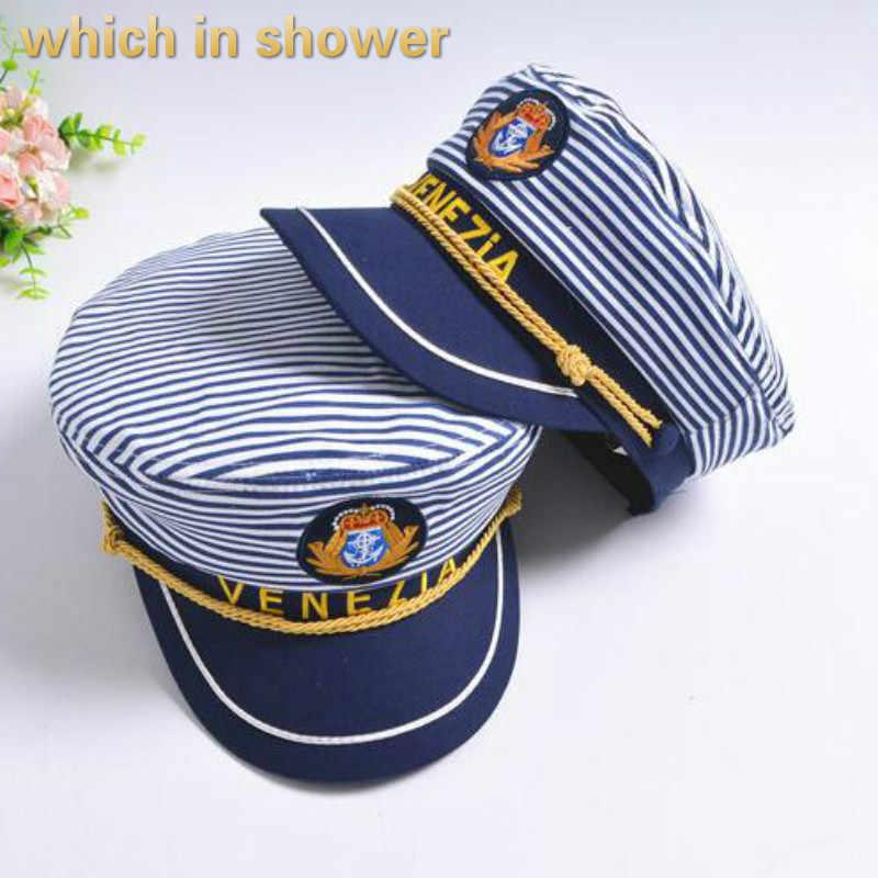 Hangi duş aile çizgili askeri şapka ayarlanabilir pamuk kadın erkek vintage düz kap unisex kaptan şapka çocuklar sailor donanma kap