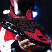 Для Мужчин's вулканическая обувь большой размер 39-48 сетка дышащий красный Мужская Обувь На Шнуровке Для Прогулок, от промокания обувь модная...