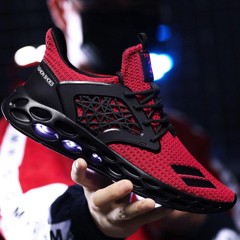 גברים של לגפר נעלי גדול גודל 39-48 רשת לנשימה אדום נעלי זכר שרוכים דעיכת נעלי הליכה אופנה כותנה בד מאן