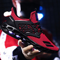 Men's Vulcanize shoes Large Size 39-48 Mesh Breathable Red Shoes Male Lace-Up Damping Walking Shoes Fashion Cotton Fabric Mans