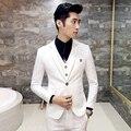 (Jaqueta + colete + calça + gravata) 2017 boutique de moda pura cor do vestido de casamento do noivo ternos dos homens/Homem de negócios high-end ternos