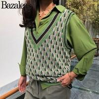 Bazaleas Vintage Green Geometric Patchwork Kintted Women Vest Deep V Neck harajuku pullover Fashion Basic Women Sweater