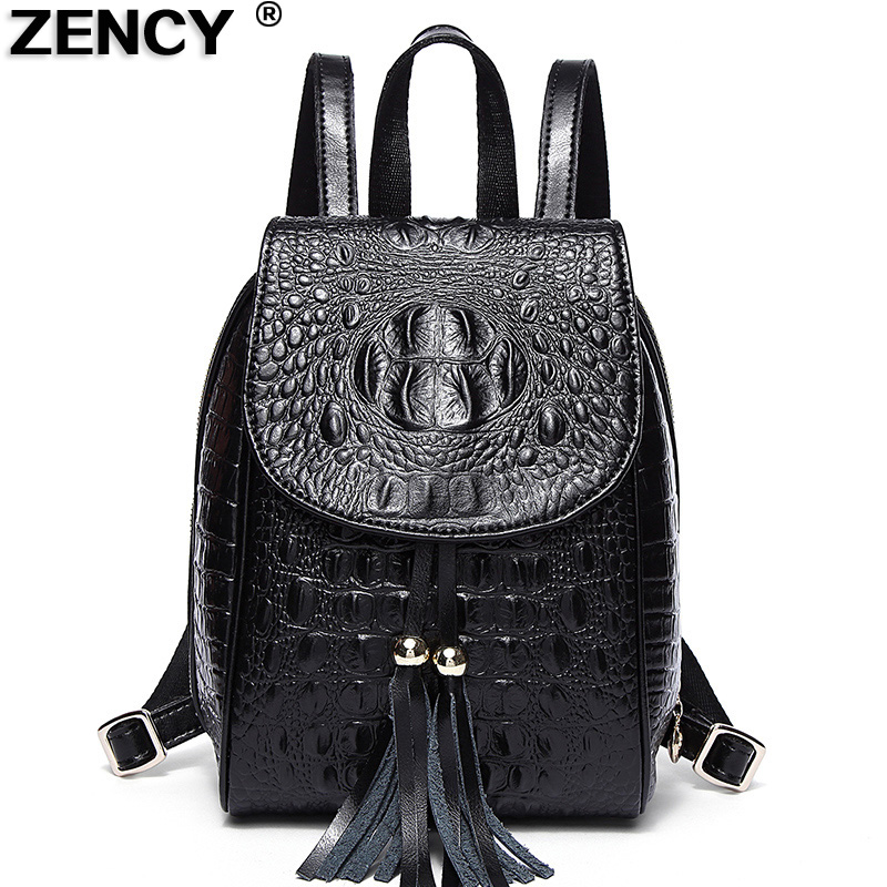 ZENCY Spring Small Famous Brands Crocodile Pattern Backpacks Genuine Leather Second Layer Cowhide Women's Backpack School Bags zency genuine leather backpacks female girls women backpack top layer cowhide school bag gray black pink purple black color