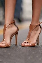 Fashion Women High Heel Sandals Summer Brown Leather Stiletto Heels Party Dress Shoes Open Toe Sandal Free Ship цены онлайн
