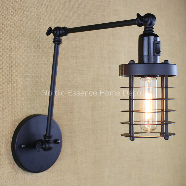 Nordic style iron bar cafe hotel restaurant project hob black retro double long arm with switch Wall lamp sconce free shipping