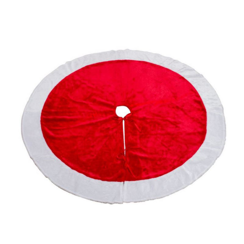 120cm Plush Red White Splice Trees Skirts Christmas Tree Skirt for DIY Xmas Supplies Party Holiday Decoration Hot Sale P20