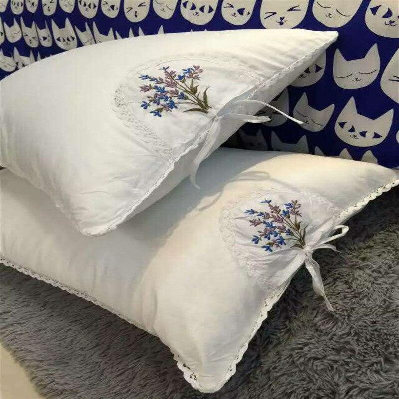 Oreiller lavande avec paquet détachable de fleur de bursa douce oreiller de cou de 48*74 cm avec la couverture d'oreiller en dentelle de nylon