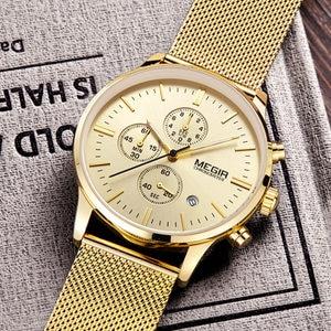 Image 2 - MEGIR chronograph mens quartz watch slim mesh steel band men watches gold casual business brand male clock wristwatches MG2011