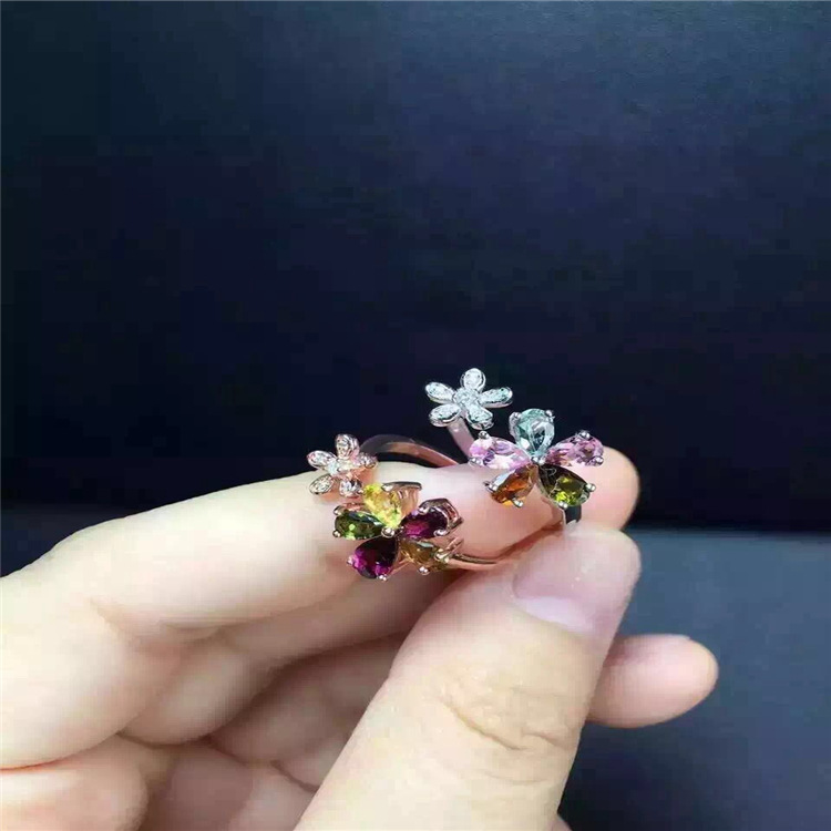 Image 2 - KJJEAXCMY fine jewelry S925 silver tourmaline size of plum flower opening ring jewelry natural gem parcel post.Rings   -