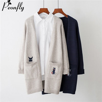 PEONFLY Long Sweater And Cardigans For Women V Neck Loose Jumpers Poncho Long Knit Coat Warm