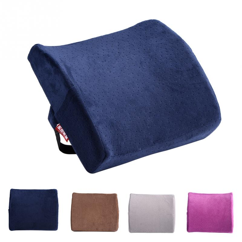 Velvet Back Support Pillow Rebound Memory Foam Pillow Car Chair Back Seat Rest Cushion Ergonomic Back Waist Braces Cushion Pads