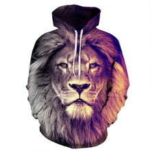 2018 women men's harajuku clothing sweatshirt 3d lion hoodie plus size S-3XL pullover