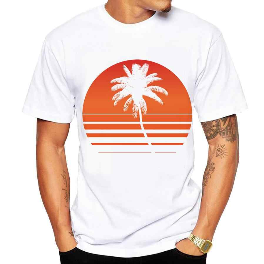 men's T-shirt fun print palm tree with cool shape T shirt men summer fashion brand short-sleeved Tops Tee shirt homme size 5xl