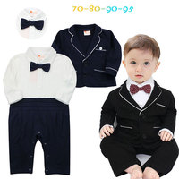Formal baby infant baby boys clothes long jumpsuit+coat +bow 3pcs gentleman suit for newborn clothing sets baby boy cloth