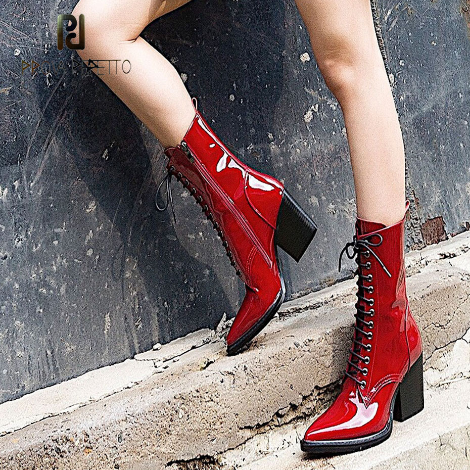Prova Perfetto 2018 new style pointed toe patent leather martin boots women cross tied chunky high heel fashion motorcycle boots цена 2017