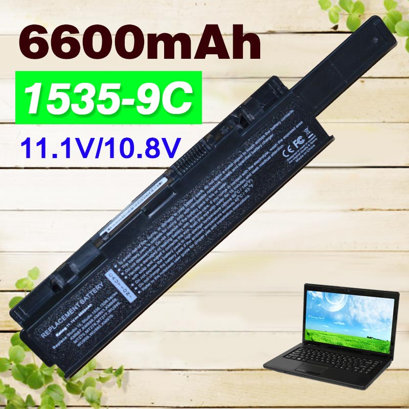 6600mAh 9 cell Laptop Battery For <font><b>Dell</b></font> <font><b>Studio</b></font> <font><b>1535</b></font> 1536 1537 1555 1557 1558 for <font><b>dell</b></font> KM958 KM965 MT264 WU946 312-0701 312-0702 image