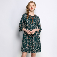 5XL women summer chiffon dresses 2018 plus size russia woman floral print brief work loosen half flare sleeve vintage dress