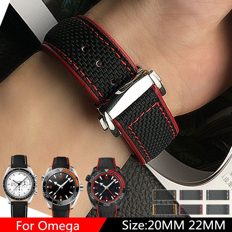 TJP Luxury brands 20mm 22mm Nylon Leather Watchbands Watch Strap For Omega Seamaster Planet Ocean Speedmaster 20 Bracelet tjp brands silicone rubber watch strap 22mm 24mm black watchbands bracelet for breitling nnavitimer avenger wristband