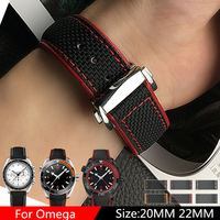 TJP Sang Trọng brands 20 mét 22 mét Nylon Genuine Leather Watchbands Xem Strap Đối Omega Seamaster Hành Tinh Đại Dương Speedmaster 20 Vòng Đeo Tay