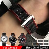 TJP Luxury Brands 20mm 22mm Nylon Leather Watchbands Watch Strap For Omega Seamaster Planet Ocean Speedmaster