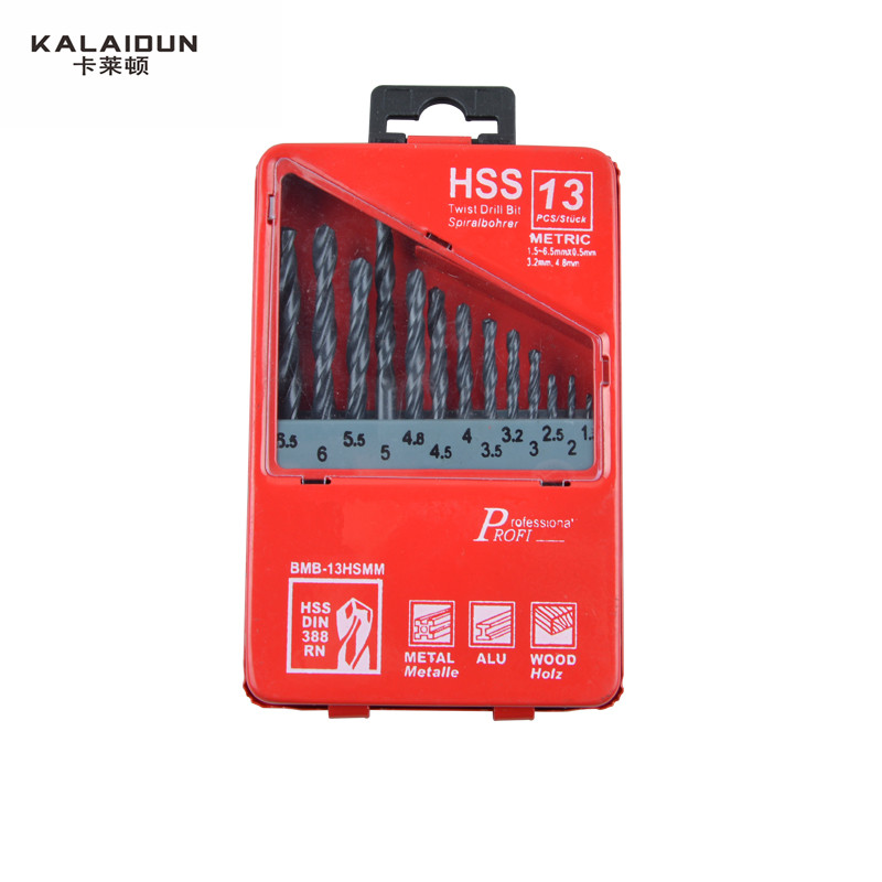 KALAIDUN 13pcs/set HSS High Speed Steel Titanium Coated Drill Bit Set  1.5-6.5mm Woodworking Metal  Drilling Tools 99pcs mayitr hss drill bits set titanium coated woodworking drilling tools 1 5mm 10mm