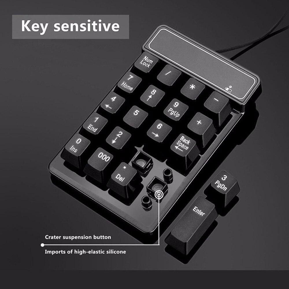 USB Wired Connection 19 Keys Slim Portable Mini Splash proof Numeric ...