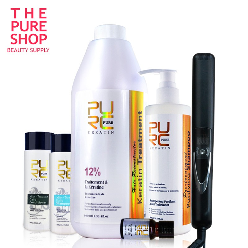12% keratin and purifying shampoo and flat iron