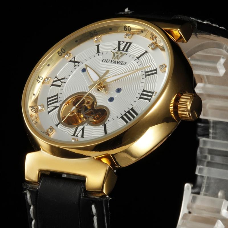 Prix pour OUYAWEI Blanc D'or Montres Hommes Squelette Automatique Montre Mécanique Bracelet En Cuir Montre De Luxe Montre Homme Montre-Bracelet Relojoes