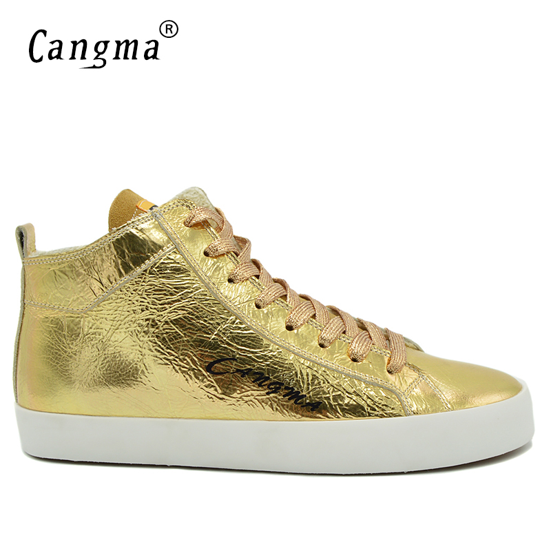 CANGMA Luxury Vintage Man's Gold Shoes Patent Genuine Leather Brand Sneakers Men Casual Shoes Mid Breathable Male Lace Up Flats cangma superstar italian luxury brand shoes for woman genuine leather women casual orange silver classic shoes schoenen vrouwen
