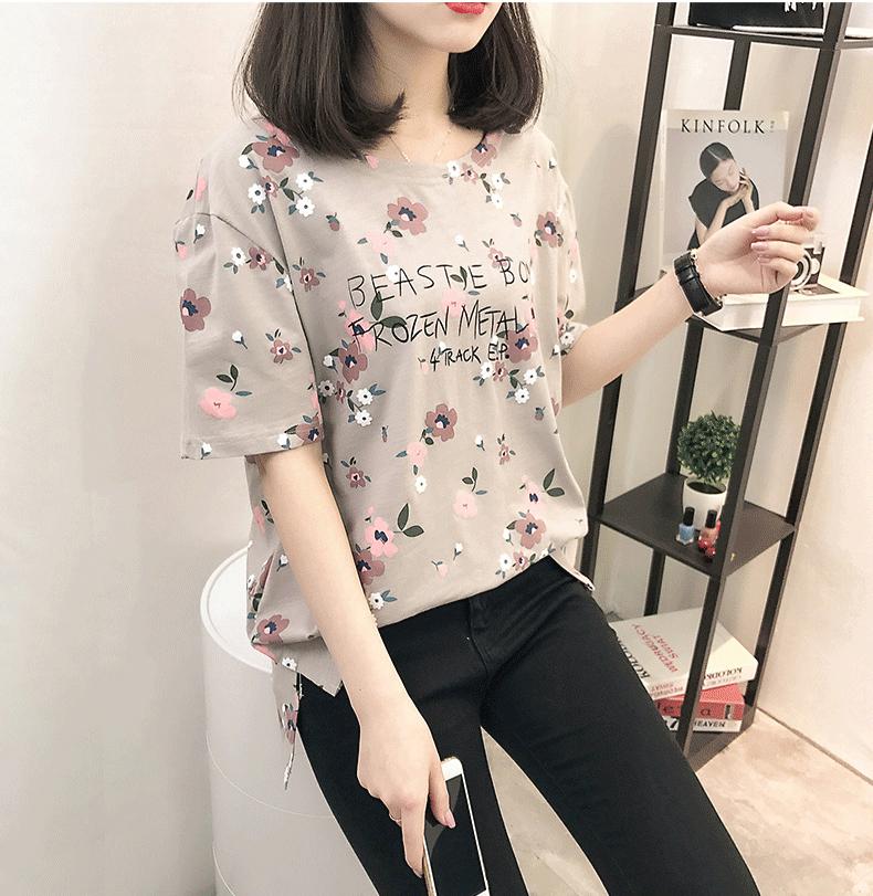 Casual Loose Women Summer T-shirt Womens O-neck Printing Cute T-shirts Female Sweet Girls Tops Females Korean Style New Trendy 10