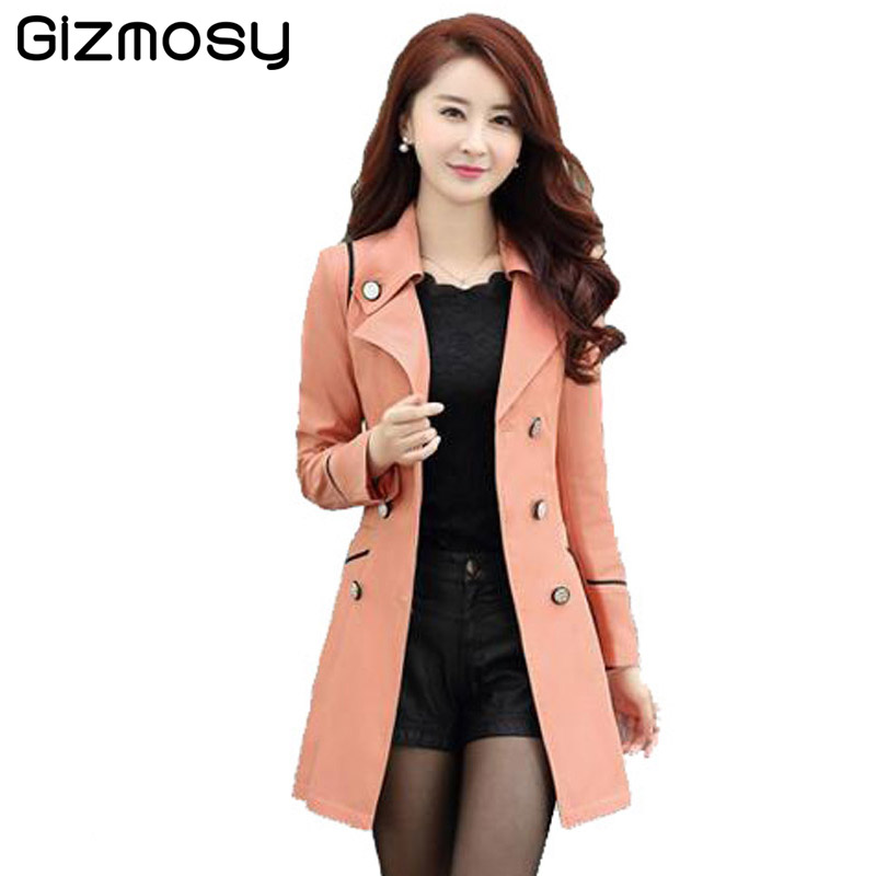 Autumn   Trench   Coat For Women 2017 New Turn-down Collar Double Breasted Candy Color Long Coats Plus Size Spring Outwear SY034