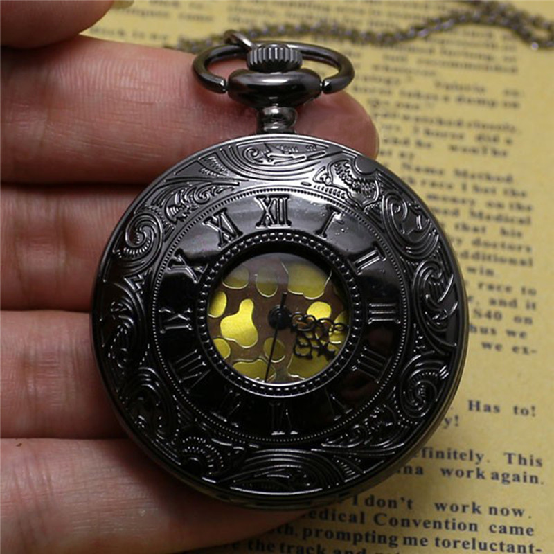 Fashion Pocket Watch Black Quartz Watch Clock Steampunk Pocket Watches for Women Necklace Pendant with Chain Relogio De Bolso retro big pocket watches with fob chain running steam train antique style quartz watch pendant unisex gifts relogio de bolso
