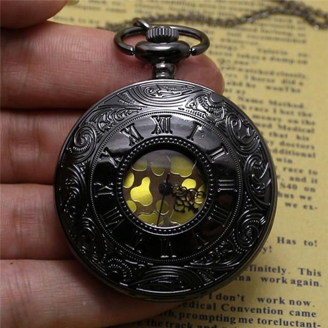Fashion Pocket Watch Black Quartz Watch Clock Steampunk Pocket Watches for Women