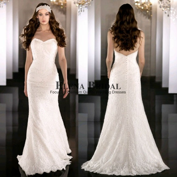 Simple Slim Fitted Sweetheart Neck Strapless All Lace